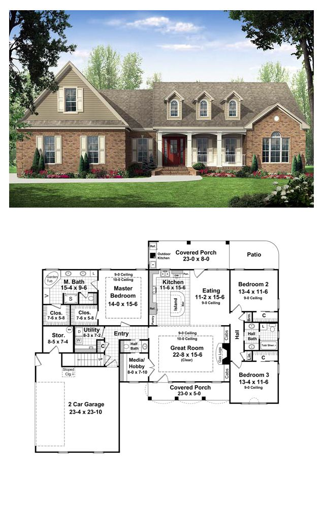 16 best images about country house plans on pinterest for Country kitchen house plans