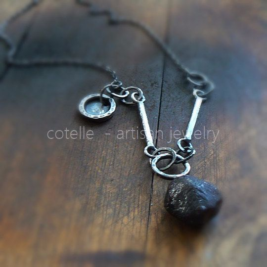 Rough Garnet Necklace and Sterling Silver  Artisan by COTELLE