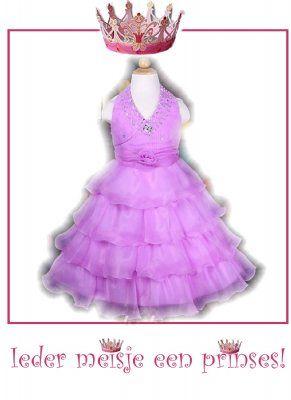 Lila jurk met steentjes, kraaltjes en ruches rok