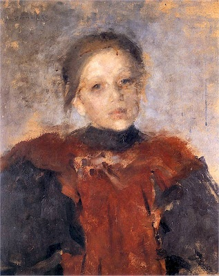 "Olga Boznanska (1865 - 1940).  ""Portrait of a Girl"" Oil on Cardboard, 19??. Private Collection, Poland."
