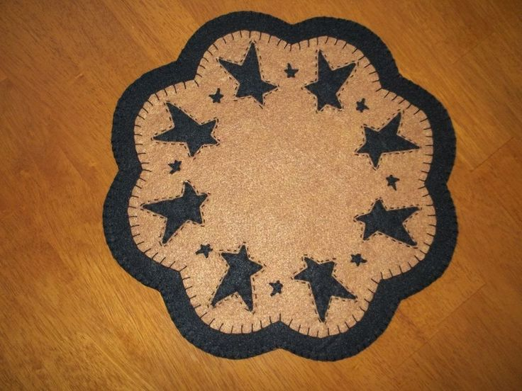 Primitive Country Penny Rug W Black Stars Candle Mat W Fs