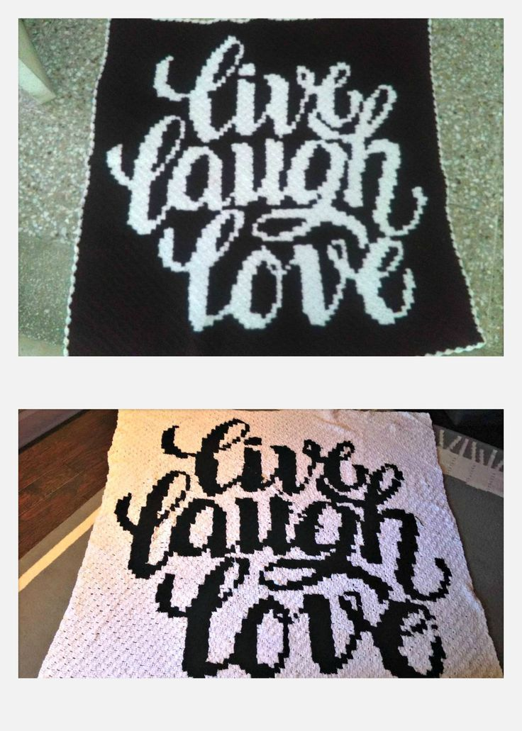 Live Laugh Love afghan, C2C Crochet Pattern, Written Row