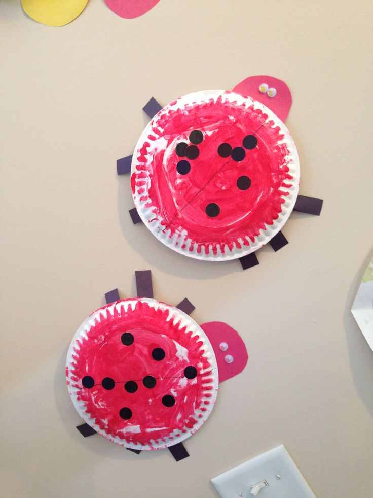 Ladybugs! Toddler craft. Paint a paper plate red. Dot stickers you have colored black. Tape on legs and head. Googly eyes. Works on color words, shapes, counting, bug body parts.