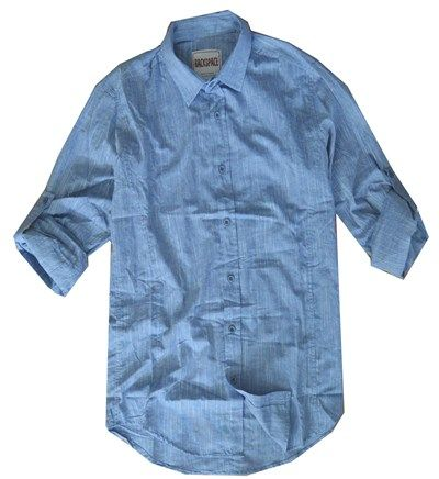 Erkek Fit Kesim Pamuklu Gömlek Mavi