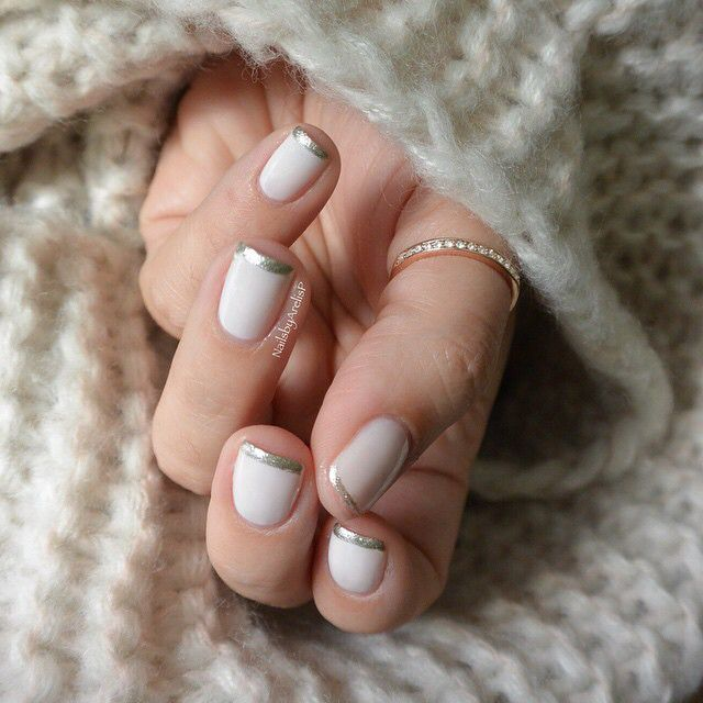 @essiepolish Winter Collection 2014 Essie Tuck It In My Tux, Free hand French with Essie Jiggle Hi Jiggle Low