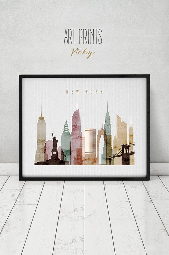New York watercolor print, watercolor poster, Wall art, New York skyline, cities poster, typography art, digital watercolor ART PRINTS VICKY.