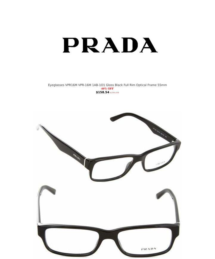9887941034 Prada Eyeglasses VPR16M VPR-16M 1AB-1O1 Gloss Black Full Rim Optical Frame  55mm