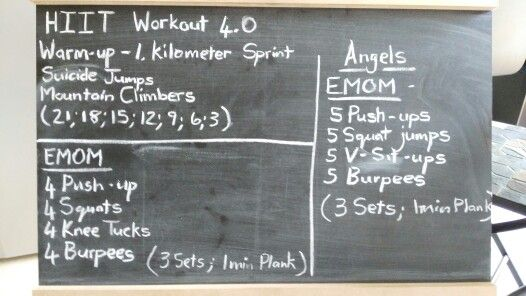 High Intensity Interval Training, every minute on the minute, after every 3 sets do a 1 min plank.