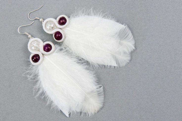 Kolczyki ślubne białe piórka