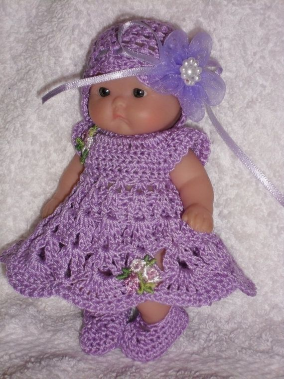 Crochet Pattern Baby Doll Clothes : Crochet pattern for Berenguer 5 inch baby doll - dress ...