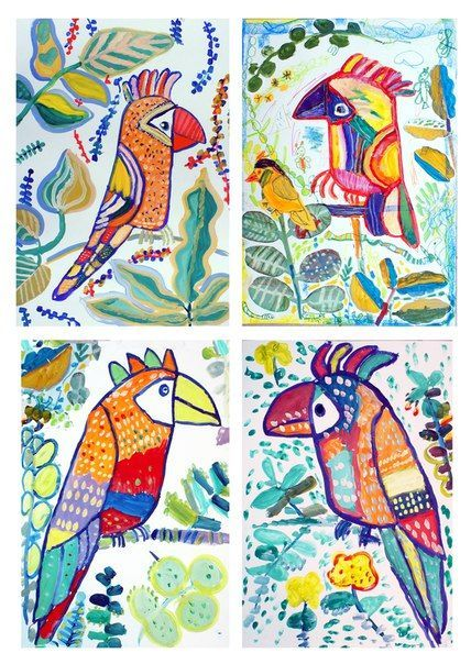Jungle Birds Painting Projects For Kids Tropical Bird Art Kids
