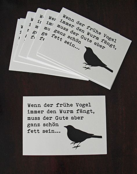 Postkarte+'der+frühe+VOGEL+und+der+WURM'+von+cute+as+a+button+auf+DaWanda.com