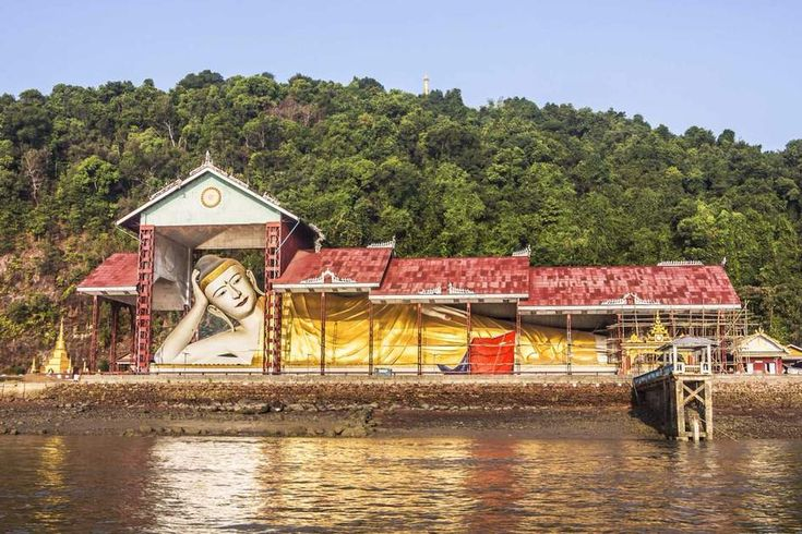 The giant reclining Buddha at the harbor of Myeik in the south of Myanmar.