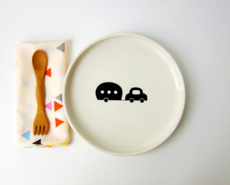 Items Similar To Kids Handmade Ceramic Mealtime Set   Transportation Series  On Etsy