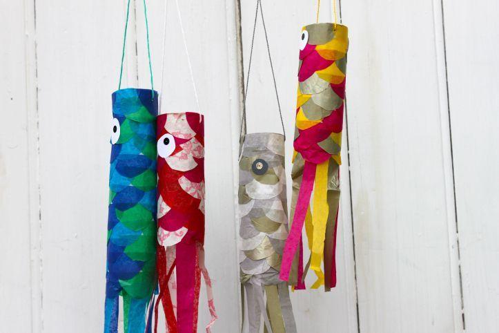 Diy carpes volantes japonaises ou koinobori arts - Activite manuelle avec papier toilette ...