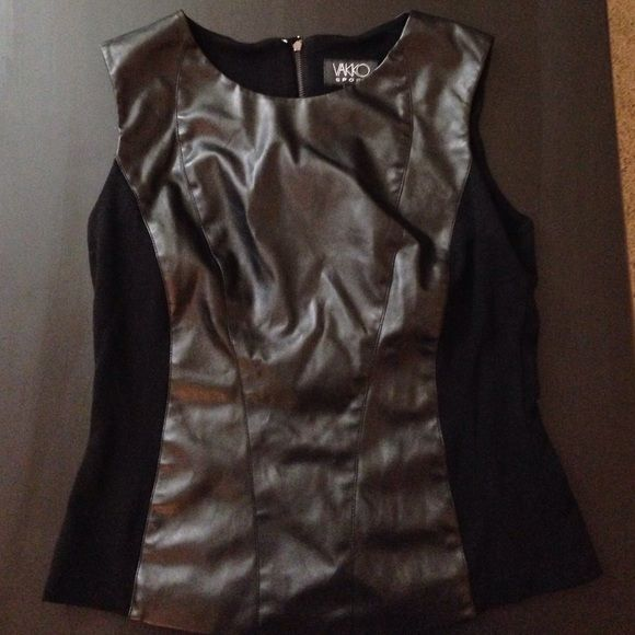 Leather black going-out top! Never worn! Black leather on the front of the shirt and cotton in the back with a zipper down the back! Great going out shirt! Vakko Sport Tops