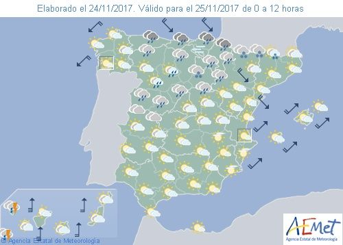 El tiempo del sábado: Lluvia y frío en la mitad norte. Mucho viento y lluvias en Canarias. Fenómenos significativos En
