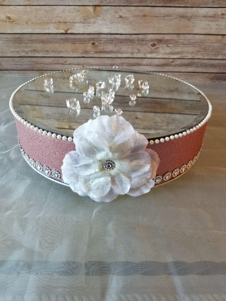 Gorgeous Rose Gold Wedding Cake Stand, Bling Rhinestone Trim, Rose Gold Fabric Wrapped, Glittered Large Ivory Flower, 14 Inch Round