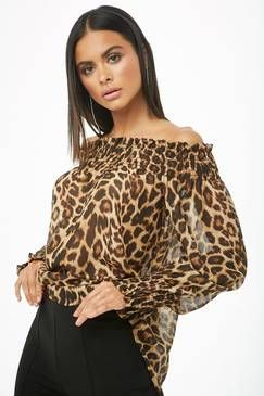 7b318b55222acf Forever 21 Leopard Print Off-the-Shoulder Top Found on my new favorite app  Dote Shopping  DoteApp  Shopping