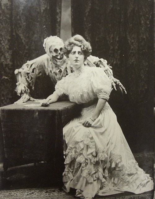 Death & woman vintage photo. Look at her face, ahaha <---hm maybe we're not any more weird than the people who came before..