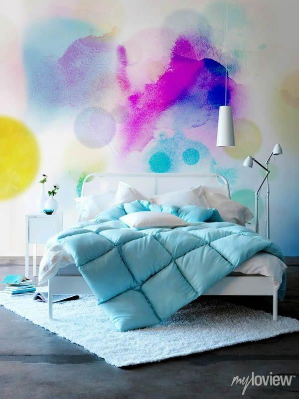 Pintar paredes con acuarelas.  Ideas decoración #dormitorios