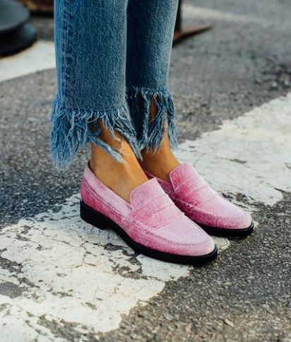 SHOP The MR Man Repeller Shoe Collection | The Alternative To Bare Feet Loafer, $425; at Net-A-Porter | Pink velvet | Fall / Winter 2016