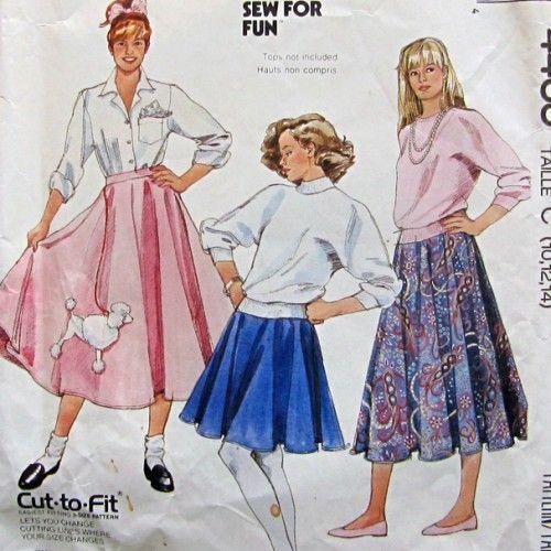 Vintage McCalls 4463 Misses Circular Poodle Skirt Pattern
