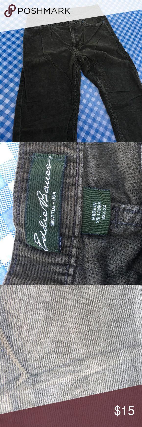 Eddie Bauer brown cords 33 x 32 Brown Eddie Bauer corduroy pants 33 x 32. Minimal wearing on the knees - see pic Eddie Bauer Pants Corduroy