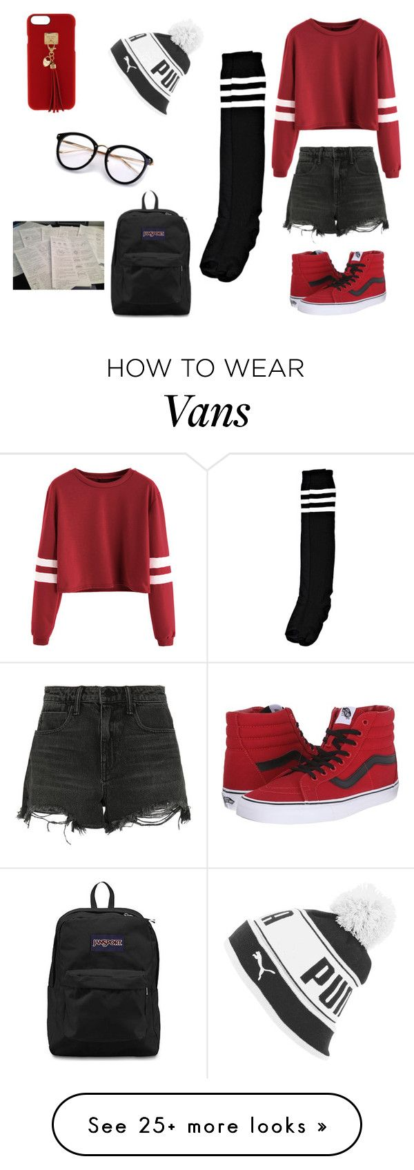 """""""See The Grade, Be The Grade"""" by randilauderdale on Polyvore featuring Puma, Alexander Wang, Vans, Boohoo, JanSport and Henri Bendel"""