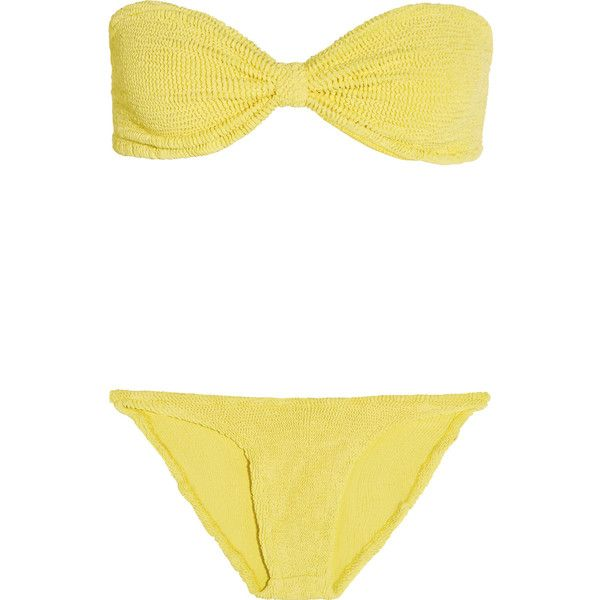 HUNZA G Jean seersucker bandeau bikini ($205) ❤ liked on Polyvore featuring pastel yellow, bandeau bikini tops and bandeau top
