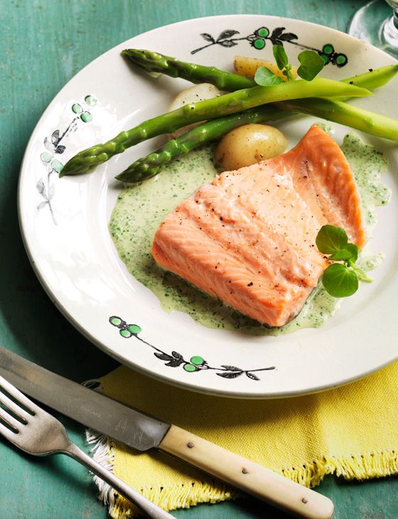 Poached trout with watercress sauce food pinterest for Poaching fish in wine