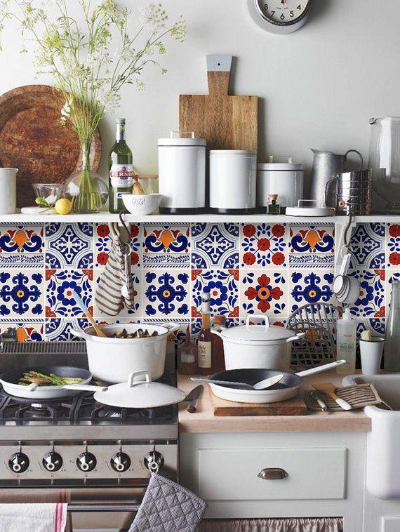 Kitchen & Bathroom Red Mexican Mix Vinyl Tile 24 von QUADROSTYLE