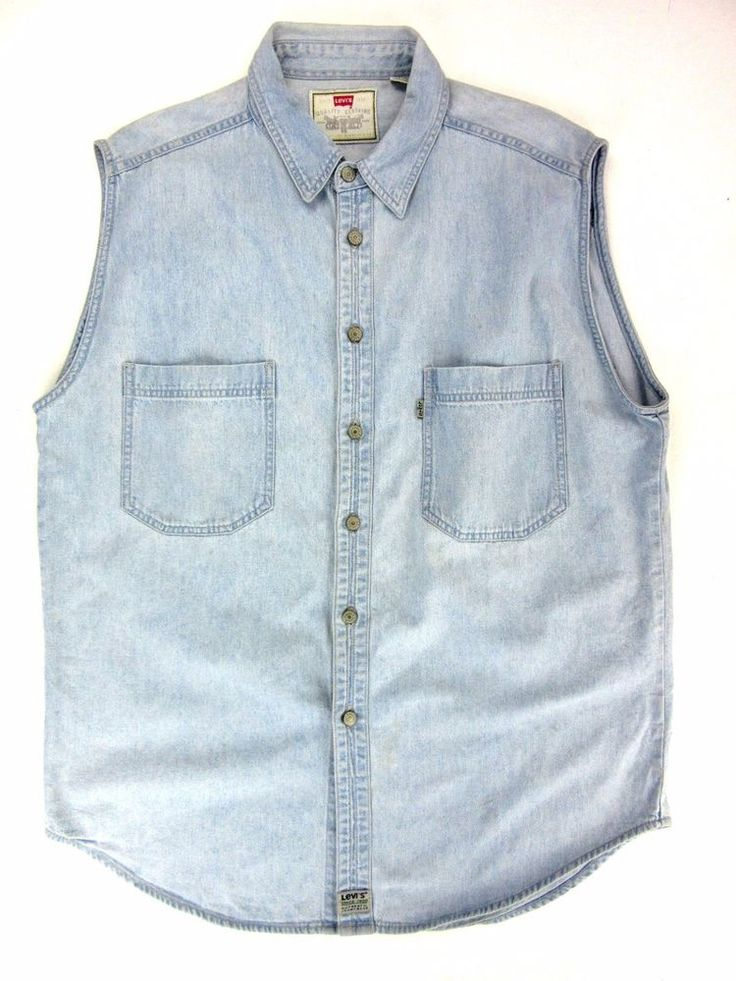 MEN'S LEVIS WHITE TAG Sleeveless Denim Shirt BUTTON UP Size XL st12