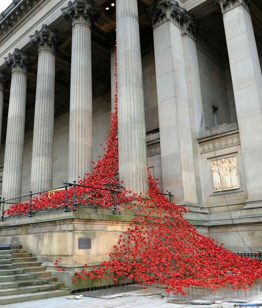 Weeping window poppies St Georges Hall Liverpool
