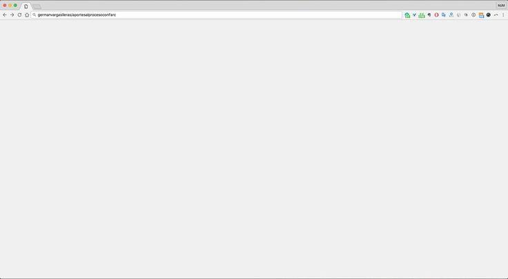 Primicia mundial: captura de pantalla del sitio web que presenta todos los aportes de Vargas Lleras y su Cambio Radical al proceso de paz con Farc. #FAIL