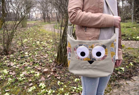 Sring Owl purse/messenger bag light greypink and by ritaboth121, $57.00