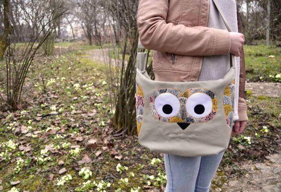 Sring Owl purse/messenger bag light greypink and by ritaboth121, $57.00
