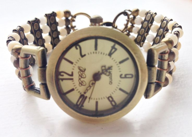 "Bracelet watch, retro, boho, cream and bronze, approx 7 1/4"" - 7 1/2"" "" (18.5 - 19 cm), slightly adjustable, MEDIUM/LARGE by ShereesTrinketBox on Etsy"