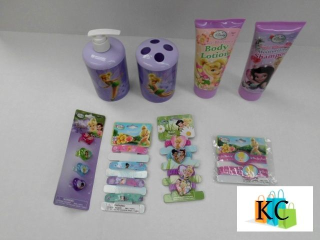 Tinkerbell Gift Pack Soap Dispenser, Tooth brush holder, Body lotion, shampoo, Rings, Barrettes, Hair ties, Rubber bracelet. $56.90 Layby Welcome on All Sets.. $10 per week
