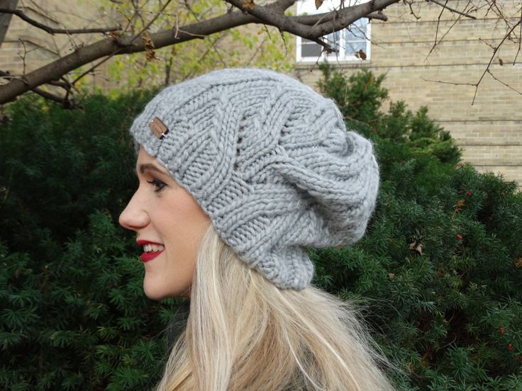 Knitted Grey Hat - Handmade Knitted Grey Slouchy Hat - Grey Slouchy Hat - Ready to Ship Hat - Women's Slouchy Hat - Grey Chunky Wool Hat -