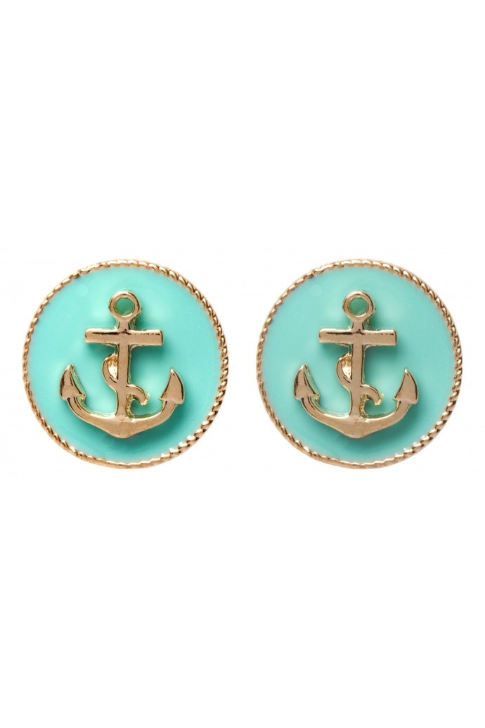 Anchor Circle Studs in MINT #4794 - colette by colette hayman