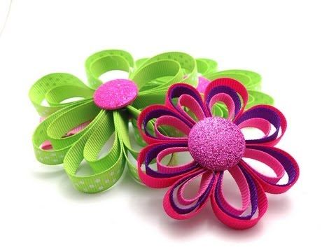 ▶ Ribbon Flower Hair Clip Tutorial DIY - YouTube  Super easy and fun to make.  Supplies available at www.hair-hardware.com