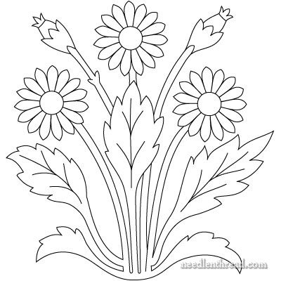 Free Hand Embroidery Pattern - Art Needlework Daisies