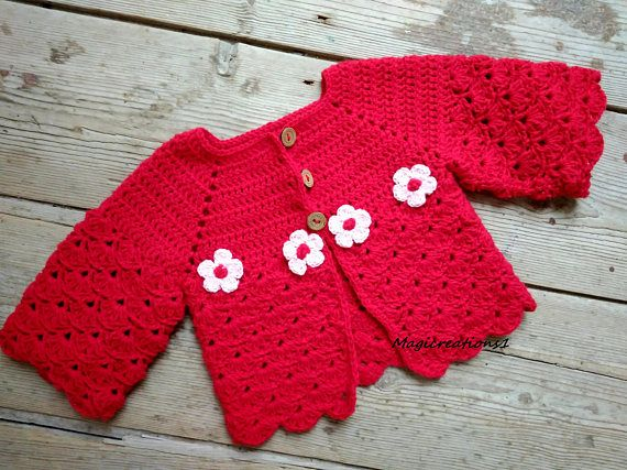 Red crochet baby cardigan with flowers. Baby Christmas gift.