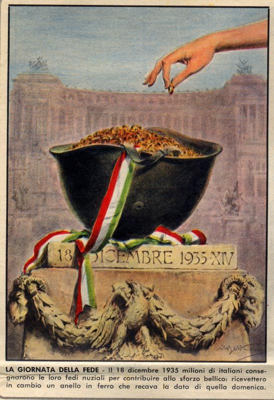 Fascist propaganda :This poster ask to give gold wedding rings to be melted for the sake of the Nation. In return the fascist government gave to  the givers a n iron ring celebrating the date, 1935. (My grandmother refused, i still have hers).: Gold Wedding Rings, Propaganda Italiana, Propaganda Posters, Originals Posters, Irons Rings, War Effort, Wwii Posters, Italian Propaganda, Italian Posters