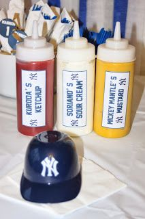 Yankees baseball theme 1st birthday party custom condiment bottles (Happily Island After)