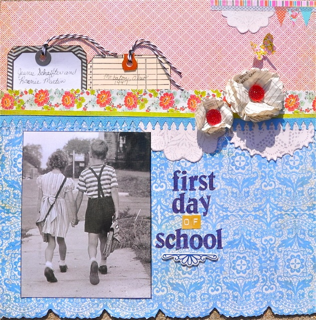 first day of school - Scrapbook.com: Studios Gallery, Scrapbook Inspiration, Scrapbook Schools Time, Schools Scrapbook, Scrapbookingeveryday Layout, Scrapbook Layout, Schools Layout, Artists July, Scrapbook Everyday Layout