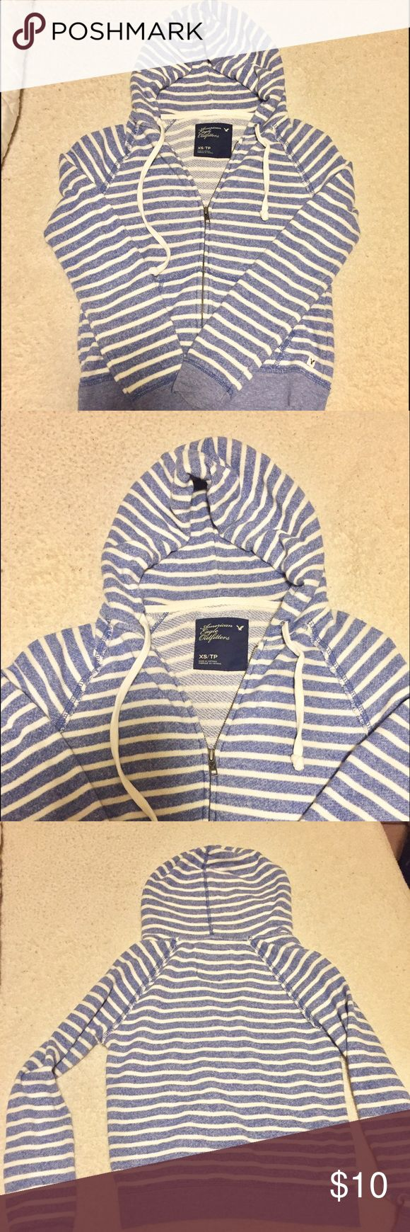 American Eagle blue striped zip-up hoodie American Eagle striped blue and white zip up hoodie.m with pockets. Very soft and comfortable! American Eagle Outfitters Tops Sweatshirts & Hoodies