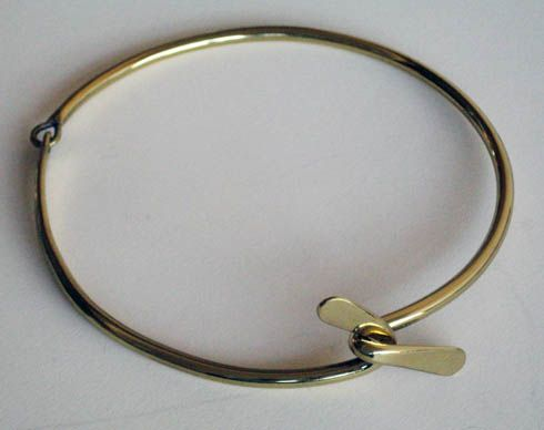 "Art Smith  American  Necklace, c. 1950's  Brass  Stamped ""Art Smith""  7 1/4"" diameter"