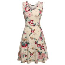 ACEVOG Brand 2016 Summer dress Women Sexy 1950s Lady Elegant Print Casual Floral Sleeveless Dress Sundress Feminino…